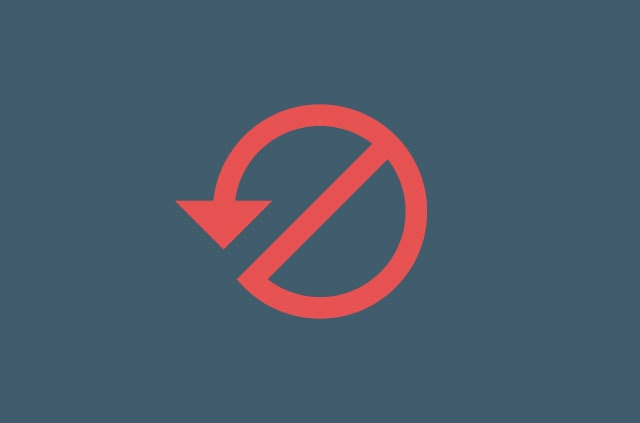 arrow pointing counter-clockwise around a forbidden sign