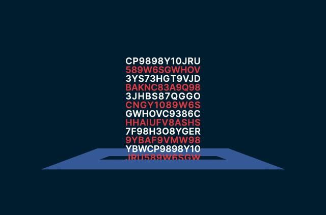 Encrypted code going into a ballot box.