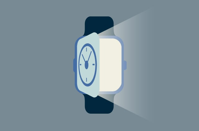 A watch with a face that opens like a door.