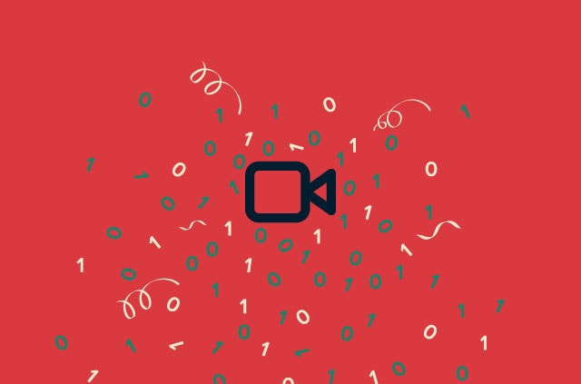 Video camera icon with confetti and numbers around it.