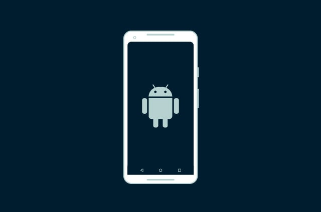 Android robot on a phone screen.