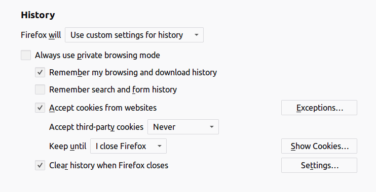 Firefox history protection options.