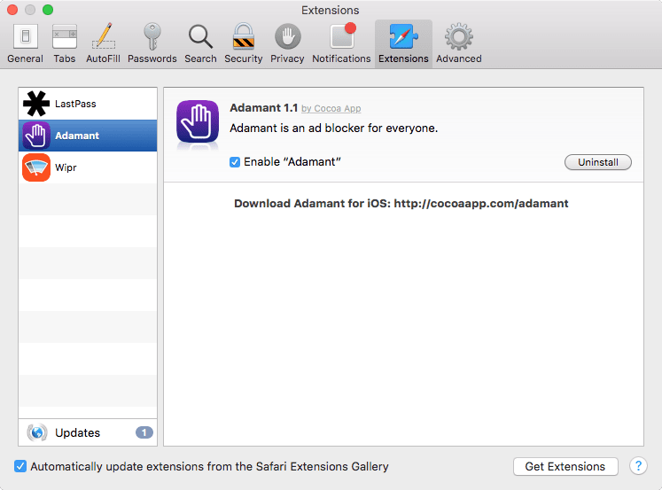 screenshot of safari extensions in preferences panel