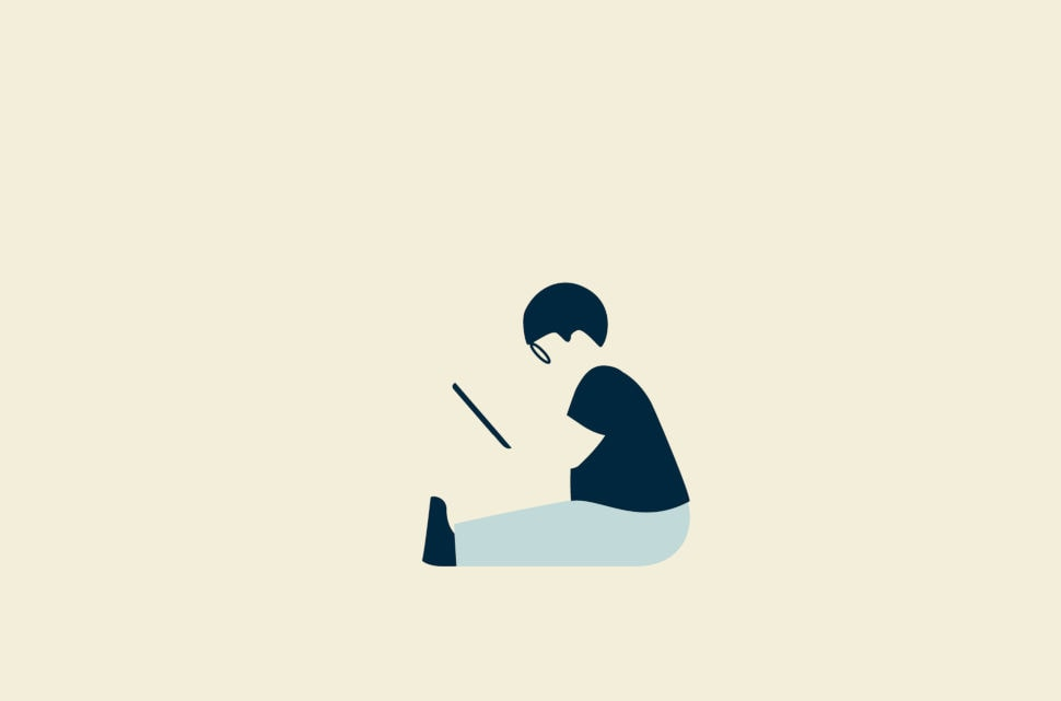 Child playing on tablet