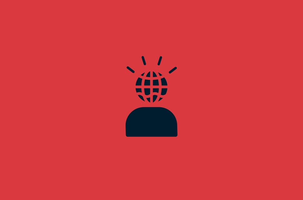 User icon with frustration lines emanating from their globe head.