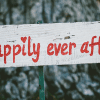 """""""Happily ever after"""" sign on a tree. Love & compassion, your way to paradise."""
