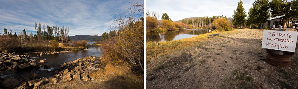 The river and trail near Colorado Cabin Adventures that leads you Shadow Mountain Lake