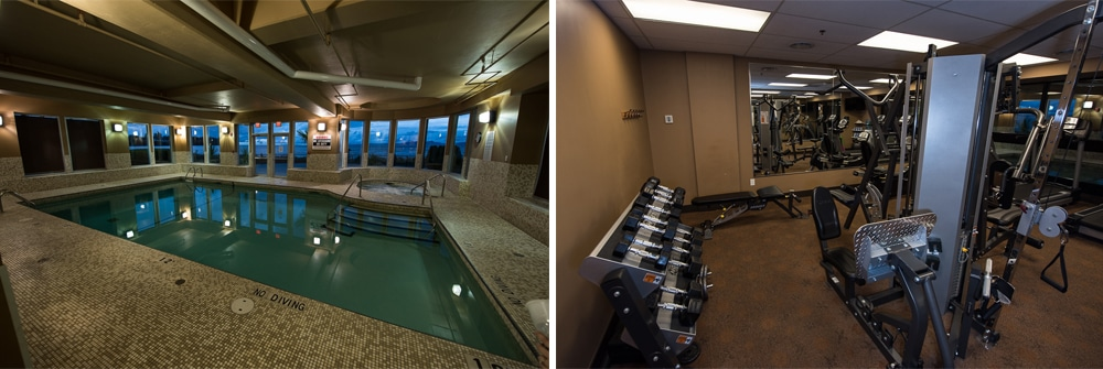 The Beach Club Resort in Parksville has some amazing amenities including a large indoor pool and a fitness room with plenty of free weights and machines