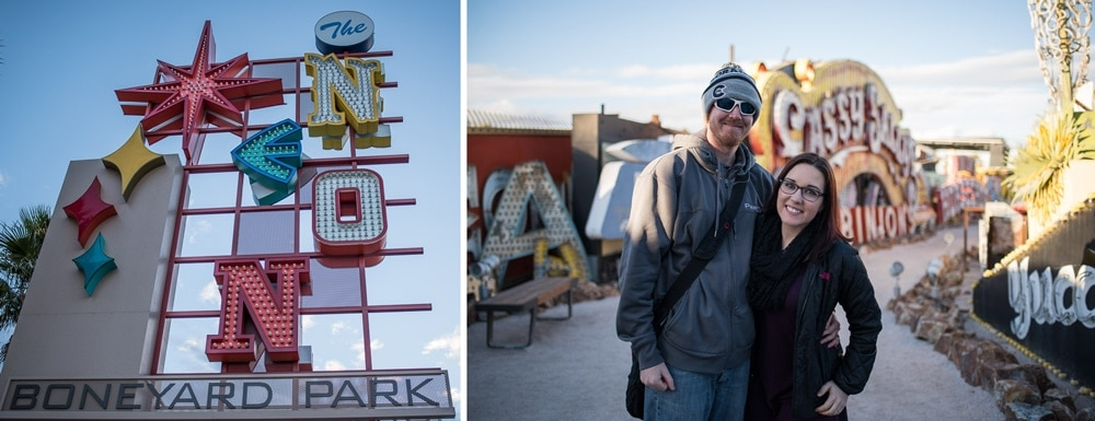 Neon Museum in Las Vegas and Brooke and Buddy posing in the Neon Sign Graveyard