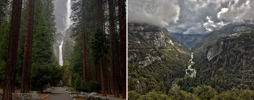 Yosemite Falls and Yosemite Valley during spring.