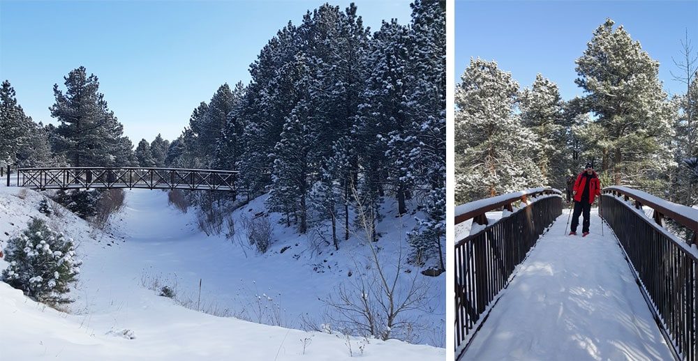Crossing snow covered bridges on the Fowler Trail in Eldorado Canyon