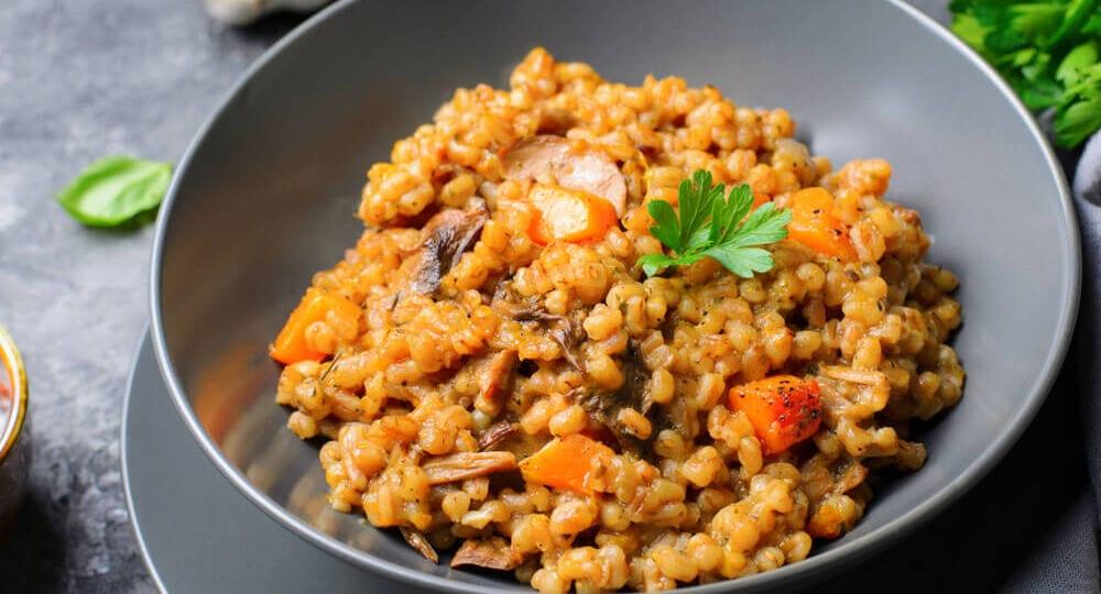 risotto zucca salsiccia e mozzarella di bufala affumicata