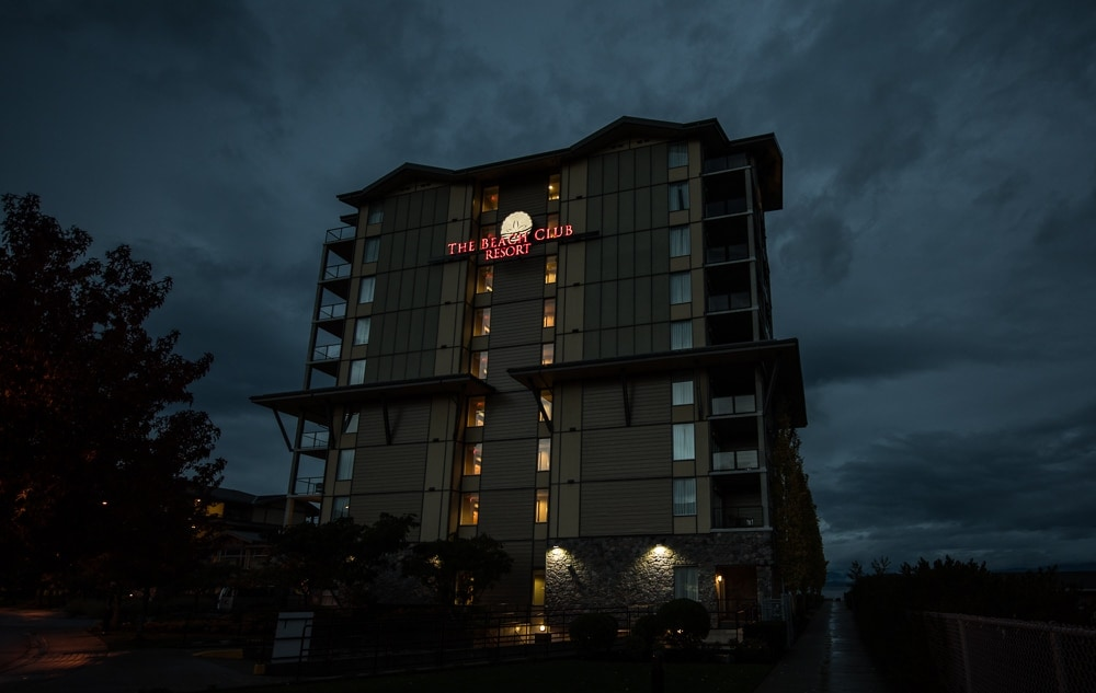 The outside of the Beach Club Resort in Parksville