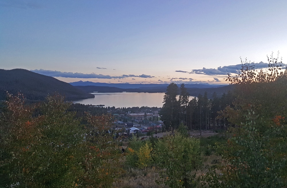 View of Grand Lake including Downtown Grand Lake from a cliff nearby