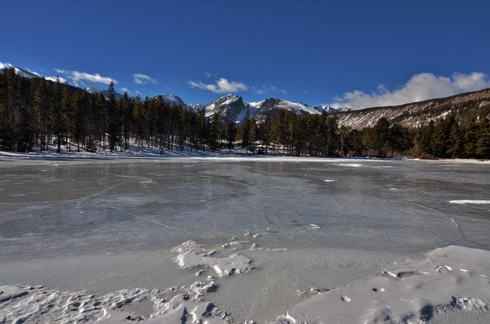 Bierstadt Lake frozen in winter