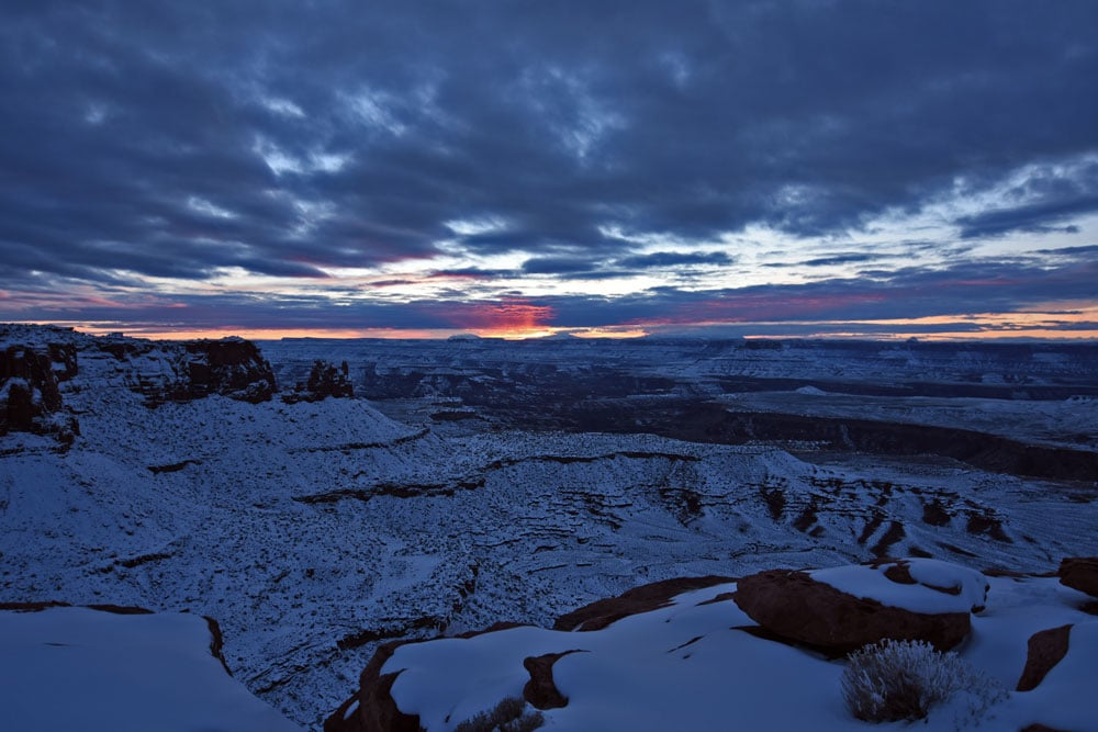 Sunset at the Rim-Walk Trail in Canyonlands in winter