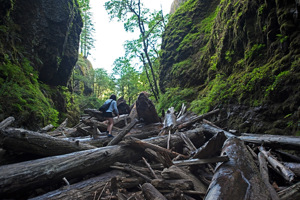 Brooke climbing over the log jam during our hike in Oneonta Gorge