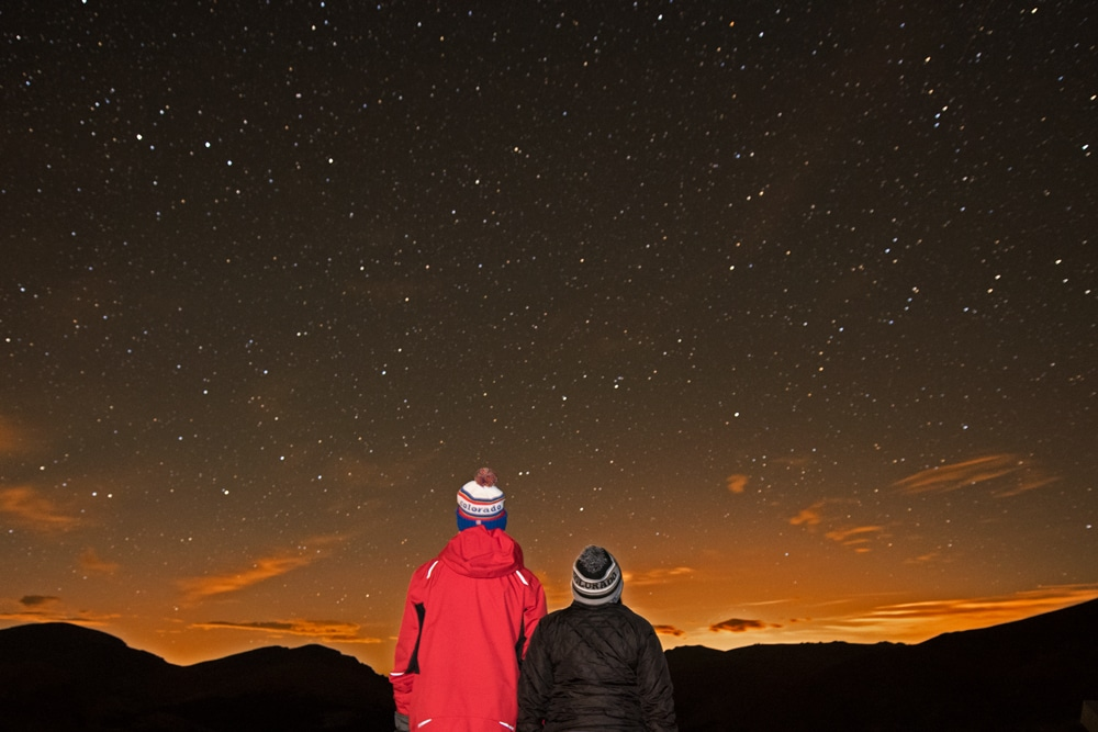 Brooke and Buddy stargazing in rocky mountain national park