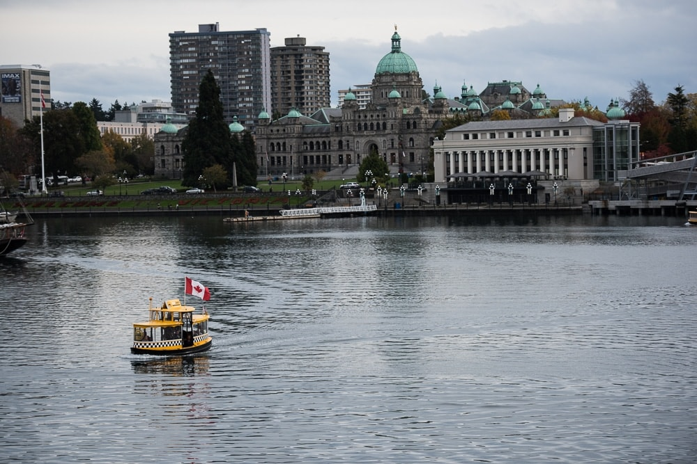 Water taxi with Canadian flag in Victoria, British Columbia