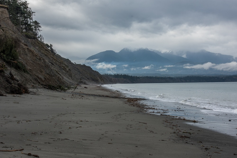 Beach shoreline in the Dungeness Recreation Area in Port Angeles, Washington