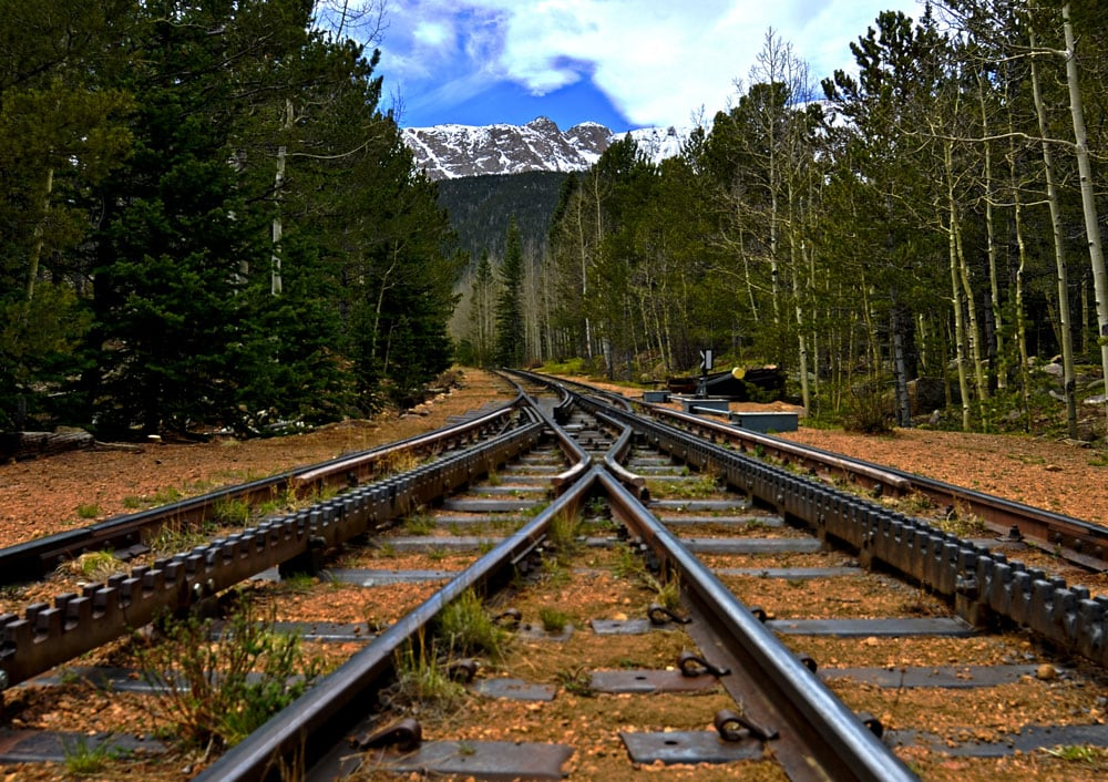 The Pikes Peak Cog Railway tracks at the stopping point.