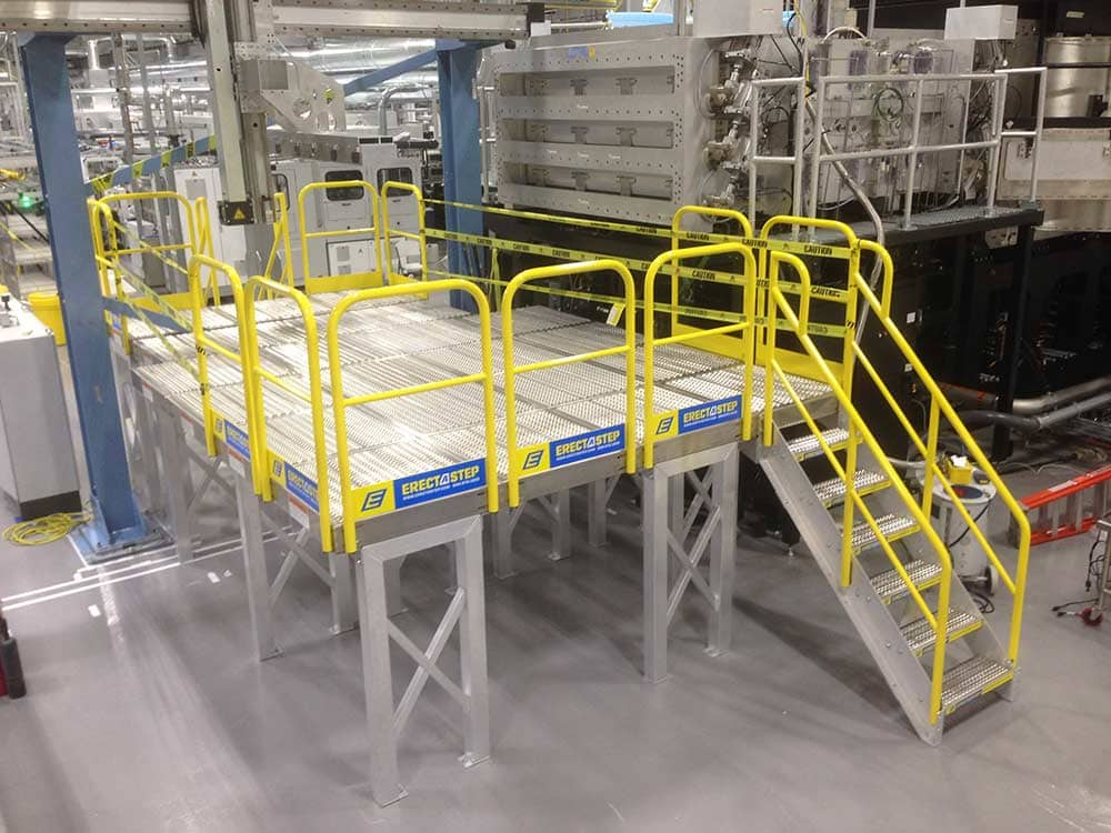 elevated work platform with safety stairs allow safe access
