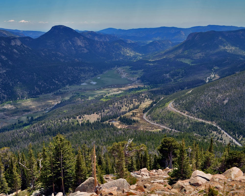 The view into Rocky Mountain National Park from Trail Ridge Road