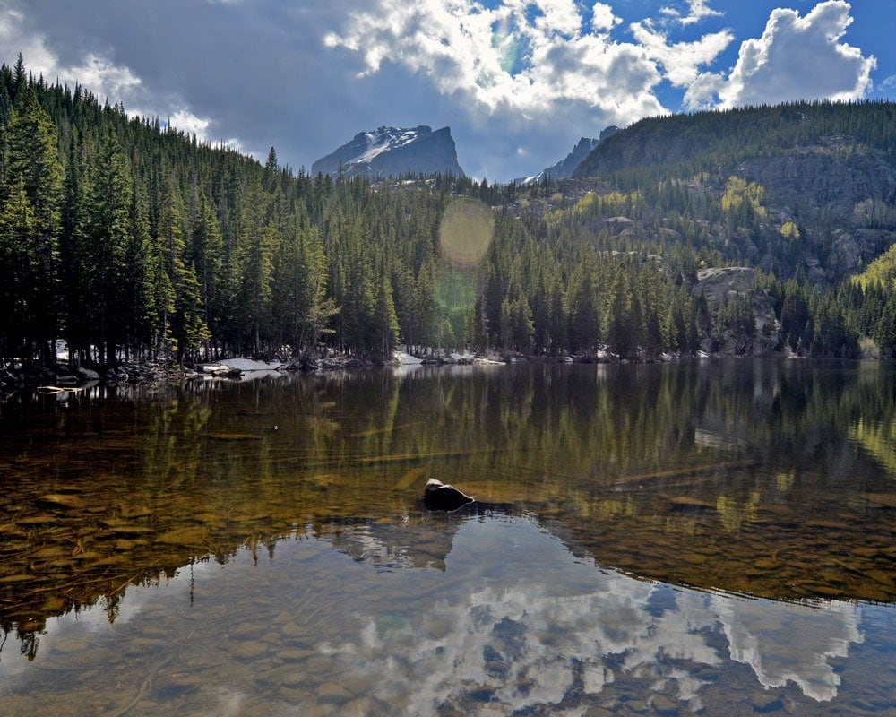 Reflection of pine trees and mountains at Bear Lake
