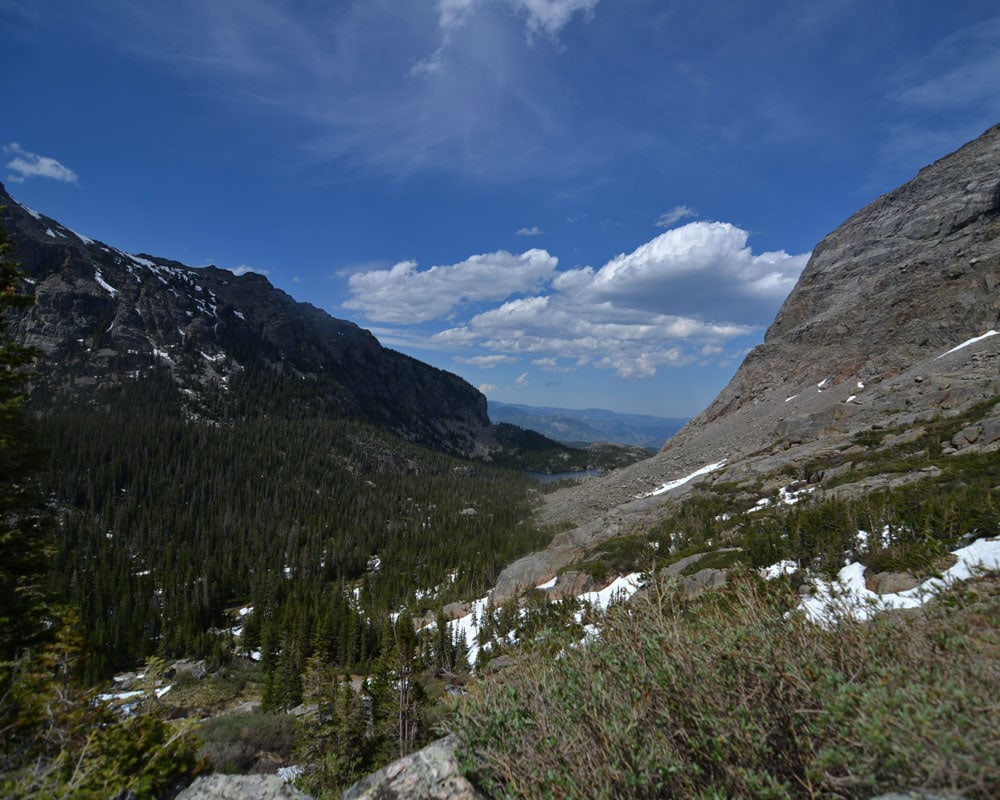 Amazing view down the valley looking towards The Loch from Timberline Falls.