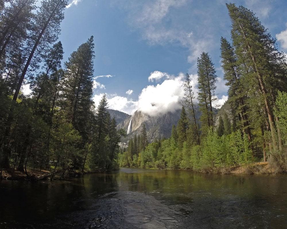 Yosemite River looking towards Yosemite Falls in April