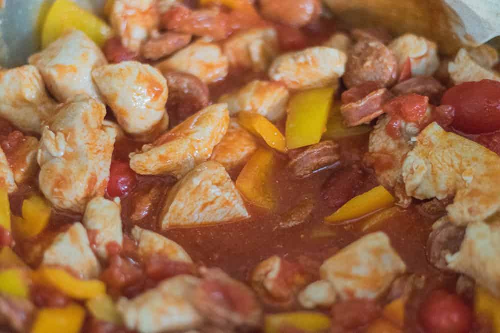 Chicken and Chorizo pasta bake step with tomatoe | amateurchef.co.uk