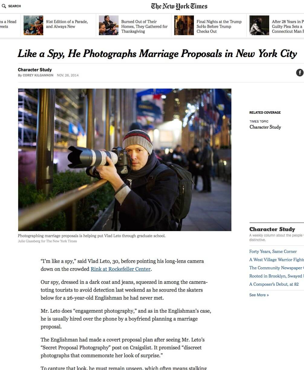 Photo New York Times Article about me!   VladLeto