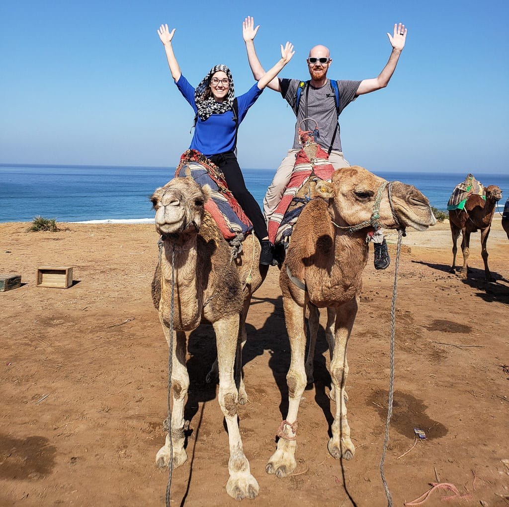 Brooke and Buddy during their Tangier camel ride in tarifa