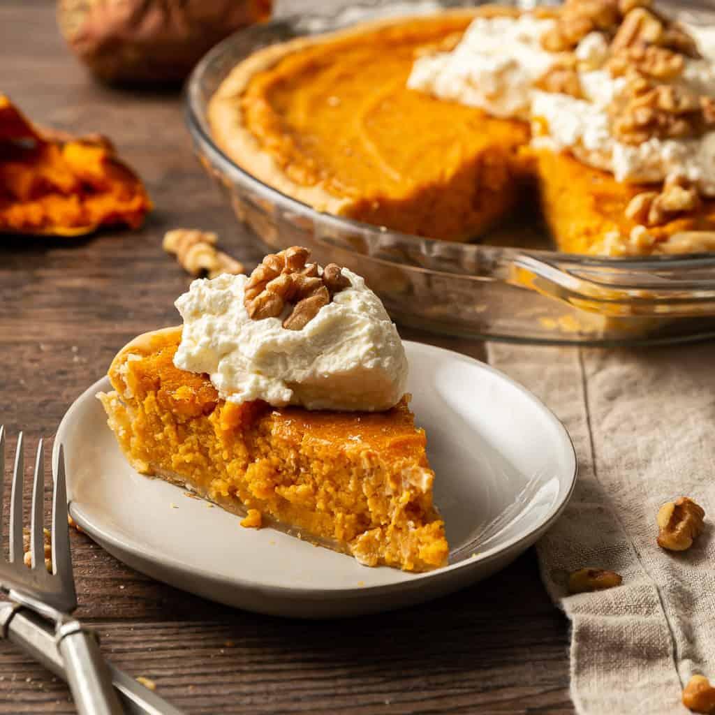 sweet potato pie with whipped cream
