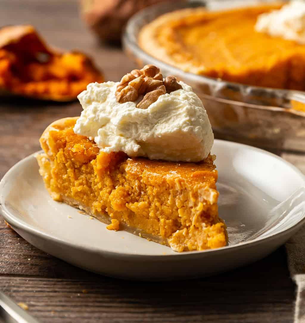 sweet potato pie slice with whipped cream