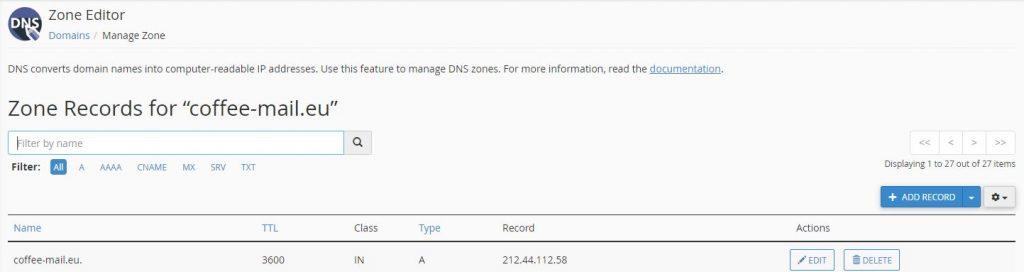 21. zone records in Cpanel