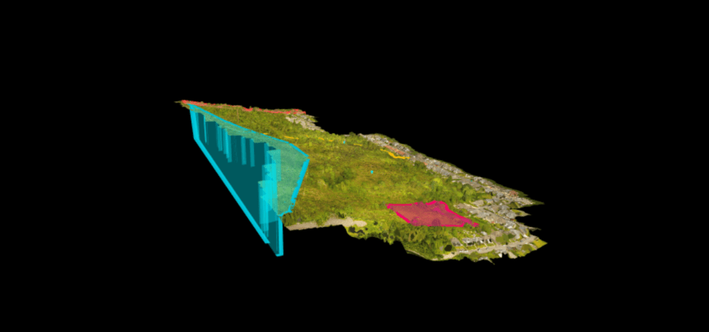 3d image of construction site taken by a drone including elevation, measurements, cross-sections.