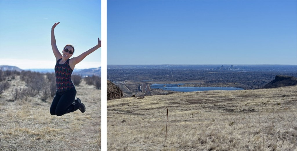 Brooke jumping for joy as we made it to the top of North Table Mountain in Golden, Colorado