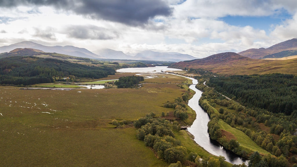 drone view in Cairngorms National Park in inverness scotland