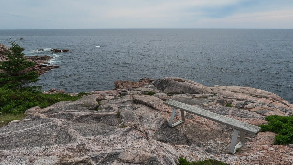 Bench on the cliffside looking towards the ocean on the Jack Pine Trail