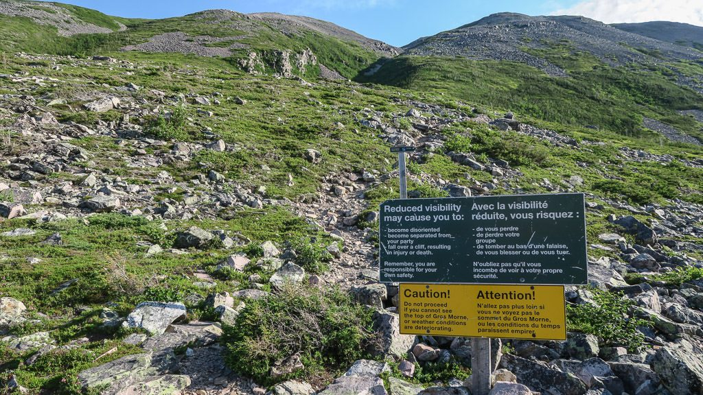 Sign with Rules for Hiking Gros Morne Mountain