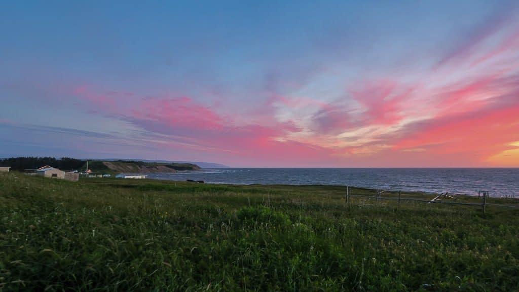 Sunset on the coast of Newfoundland