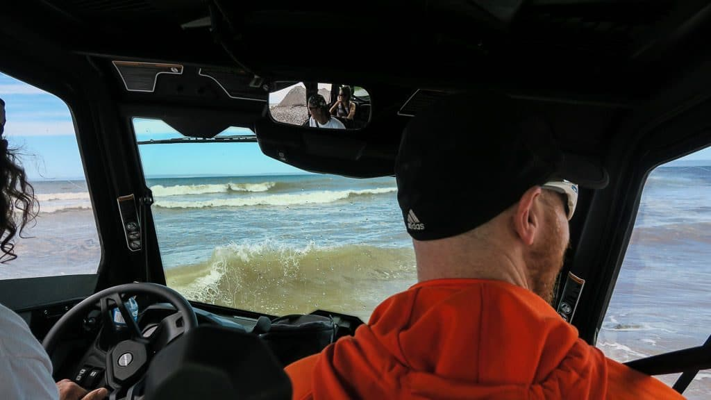 Paul driving us into the crashing waves in the Atlantic Ocean