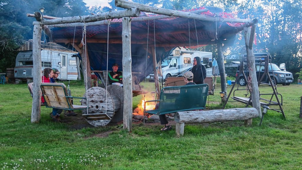 Some of the campers swapping stories and enjoying the fire at the shire campground