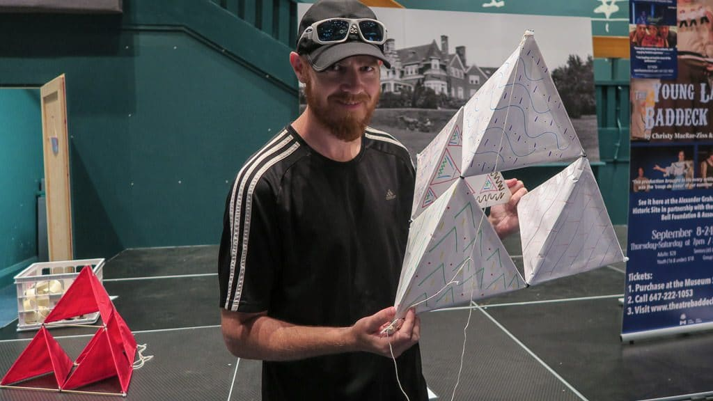 Buddy posing with our completed tetrahedral kite we made during our short visit to Alexander Graham Bell National Historic Site.