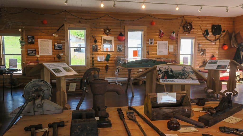 Inside the interpretive center in Trout River