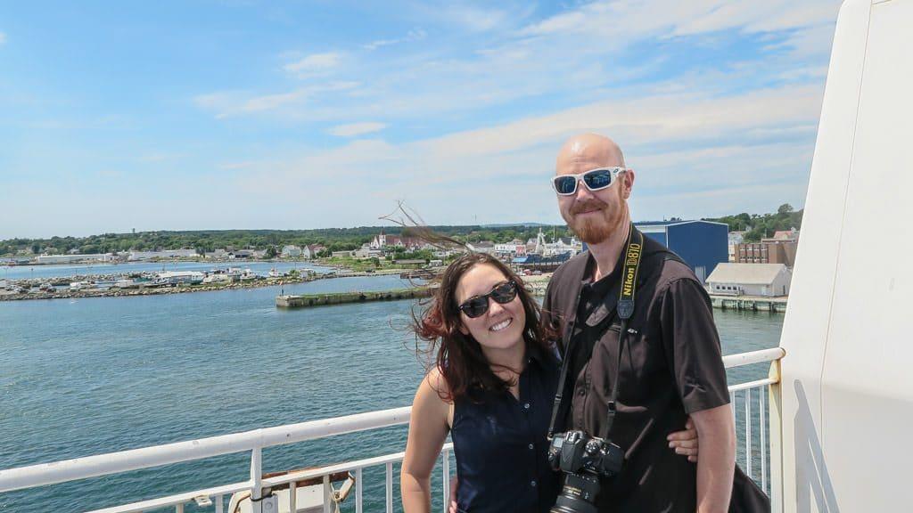 Brooke and Buddy on the Marine Atlantic Ferry leaving Nova Scotia