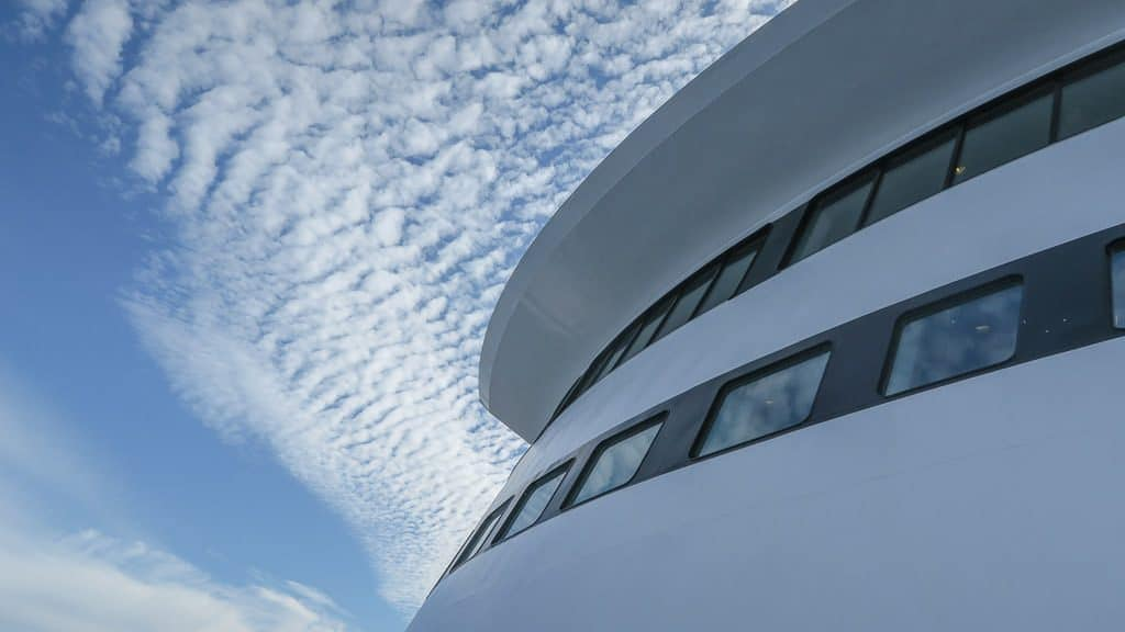 Looking up to the top of the Marine Atlantic Ferry from the deck towards a blue sky