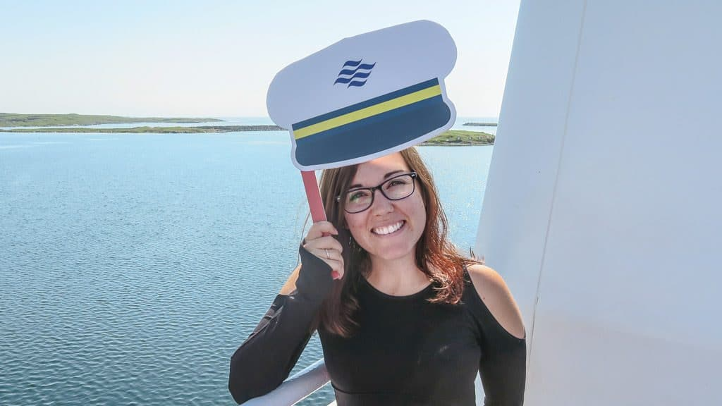 Brooke posing with her paper Marine Atlantic Ferry Hat.