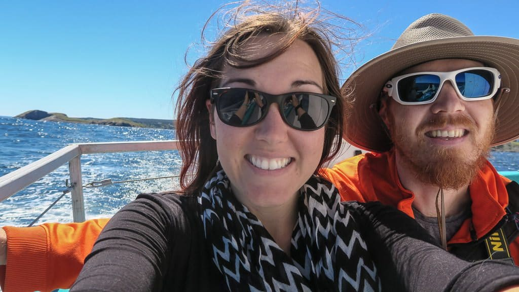 Brooke and Buddy taking a selfie on the boat